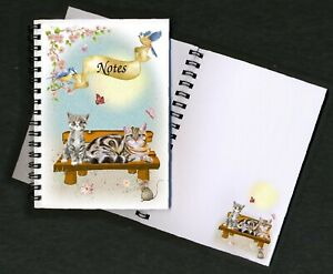 """Cat Notebook/Notepad, (6"""" x 4"""") Design No. 3 with small image on every page"""