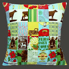 """NEW JERSEY COWS PATCHWORK MILK CREAM FLOWERS LORRY 16"""" Pillow Cushion Cover"""