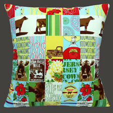 "NEW  JERSEY COWS PATCHWORK MILK CREAM FLOWERS LORRY 16"" Pillow Cushion Cover"