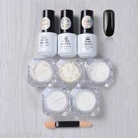 9pcs Black UV Gel Polish Nail Art  Gradient Chrome Glitter Dust Powder