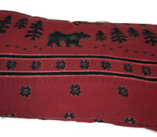 Woolrich Bear King flannel flat queen size sheet + cases ~ paws trees red black