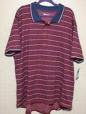 NWT Mens Lularoe SS Polo Shirt Sz 2XL XXL Red White Blue Striped Cotton