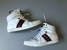 Authentic Men's GUCCI High Top Leather Shoes Sneakers White Size 43 / 221825