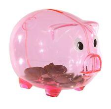 Sparschwein Rosa transparent 13 x 10 x 10 cm aus Kunststoff Spardose sparen