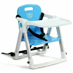 Durable Baby Booster Folding Travel Chair with Safety Belt & Tray Dining-Blue