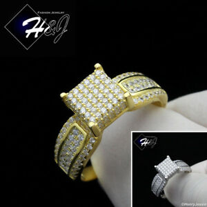 WOMEN 925 STERLING SILVER ICY DIAMOND GOLD/SILVER ENGAGEMENT RING*SR81