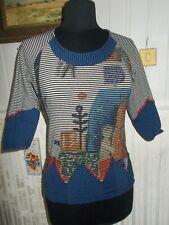Tee shirt coton stretch rayé imprimé AVENTURES DES TOILES 36 manches 3/4