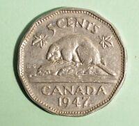 1947ML - Canada 5 Cent - Nickel - Circulated - Nice Coin Album Collectable