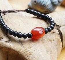 Steinarmband Verstellbar 17 - 26 cm Achat Orange Braun Perle Oval Glas Schwarz
