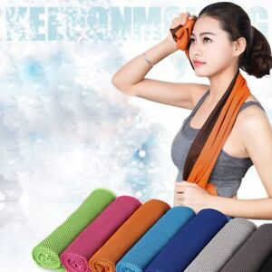 Blue Towel Fitness Dry Cooling Sports For Gym Workout Face Sweat Microfiber