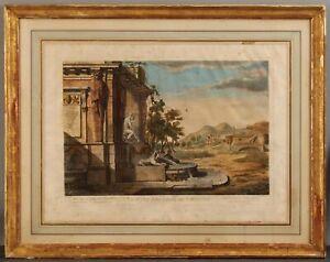 RARE 18thC Antique ETIENNE CHARPENTIER Engraving, Vue D'Une Fontaine de Corinthe