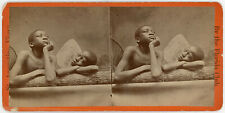 BLACK AFRICAN AMERICAN STEREOVIEW AFTER RAPHAEL'S PAINTING 'CHERUBS'