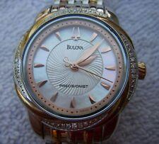 Fine Woman's BULOVA PRECISIONIST Quartz Watch w/DIAMONDS-Rose Gold-6 Inch-NR