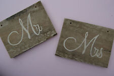 Mr and Mrs Wooden Sign or Chair Sign - Rustic Wooden Wedding Chair Sign