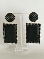 Stunning Major Designer Retro Black Rhinestone Embellished Runway Drop Earrings