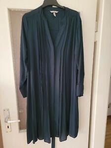 Dunkelgrünes Kleid mit Falten und Gürtel Gr. XL H+M