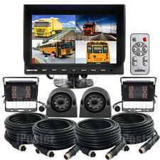 "9"" Quad Monitor 11 Display Split Screen 4Pin 4x CCD Camera 12/24V Truck Caravan"