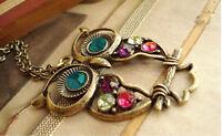 Vogue Women Retro Antique Vintage Golden Owl Korean Charm Necklace Pendant Chain