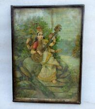 Vintage Old Rare Ravi Varma Hindu Goddess Saraswati With Veena Holy Print Frame