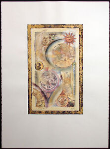 "Barbara Yukoi (b.1946) ""Sun's Orbit #5"" Original Collage Artwork Make an Offer!"