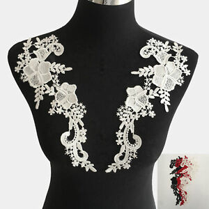 1Pair Flower Embroidered Neckline Lace Collar Trim Sewing Patch Applique Corsage