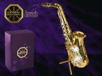 CRYSTAL TEMPTATIONS - Saxophon 4390 klare Swarovski-Steine vergoldet 11,5 x 7 cm
