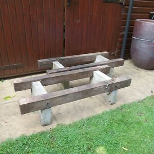 1950s Pair of Garden Benches Plant Stands Table Bases Concrete and Wood