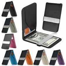 Мужской натуральный кожаный серебряный зажим для денег тонкий бумажники черный ID держатель кредитной карты