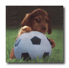 4 Motivservietten Servietten Napkins Tovaglioli Hund Dackel Fussball (043)
