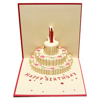 3D Pop Up Birthday Cake With Candle Greeting Birthday Card With Envelope Red