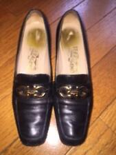 Pre-owned Salvatore Ferragamo Black Leather Loafers Gold Buckle Detail SZ 8.5 AA