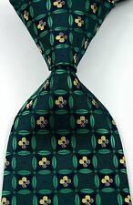 New Elegant Florals Leaf Deak Green JACQUARD WOVEN 100% Silk Men's Tie Necktie