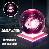 6LED Color 3D Crystal Ball Sphere Double Layer Square Luminous Stand Base  AU