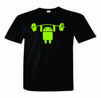 Android T-Shirt  Android Lifting Weight  Nerd/Computer Geek Cell Phone S-2XL