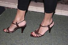 Next sexy formal occasion high heel shoes 5 brown strappy sandal used in box