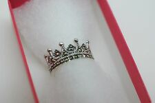 Unusual Solid Silver Crown Ring with Marcasite Size K L Ladies Gift