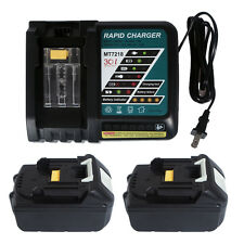 For 2X Makita BL1850 BL1830 BL1840 LXT 5.0 Ah 18V Batteries& Fast Charger DC18RC