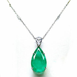 """17 X 30 mm. FOREST GREEN DOUBLE AMETHYST & CZ PENDANT & NECKLACE 18"""" 925 SILVER"""