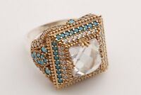 Turkish Jewelry Square White Topaz Turquoise 925 Sterling Silver Ring Size 10