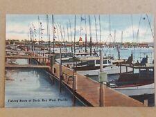 New ListingLinen Postcard 69322 ~ Fishing Boats at Dock, Key West, Florida (39) ~ Unposted