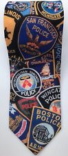 Ralph Marlin Classic Silk Tie USA Police Patches Fun Humour Stag Evening Party