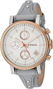 Fossil ES4045 Boyfriend White Dial Grey Leather 38mm Chronograph Ladies Watch