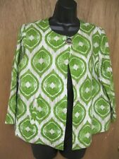 CHICO'S MED. SIZE 1 ONE BUTTON LINEN 3/4 SLEEVE JACKET GREEN/WHITE/BRN //B71