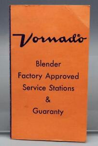 Vintage Vornado Blender Guaranty Card