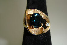 14K YELLOW GOLD VINTAGE GREEN TOURMALINE AND DIAMOND STRELL RING, SIZE 7 ¼, 8.5