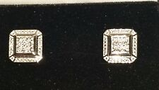 Kay Jewelers Sterling Silver Diamond Tiered Square Earrings.