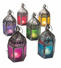 Fair Trade Moroccan Style Iron & Glass Lantern Tea Light Holder Home & Garden