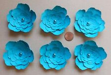 6 Handmade Paper Flowers in Turquoise Scrapbooking Card Making Home Decor