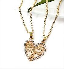 Best Friend Heart Pendant Necklace Gold coloured Rhinestone Crystal