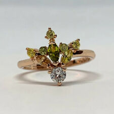 Rose Gold Filled Copper Peridot Cubic Zirconia Cluster Ring Size 6